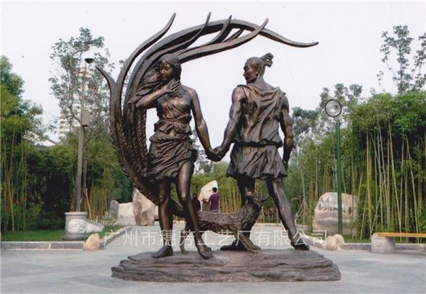 古代人物玻璃钢仿铜雕塑