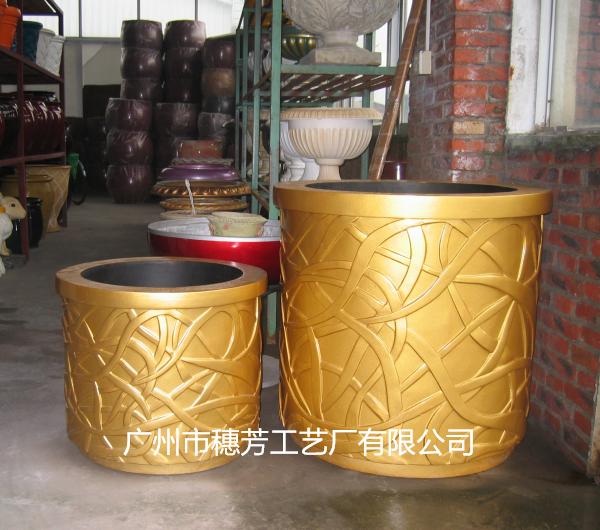 金色圆盆玻璃钢景观花盆