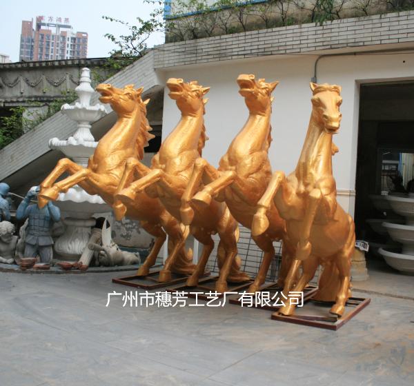 金色八骏马雕塑广场景观雕塑