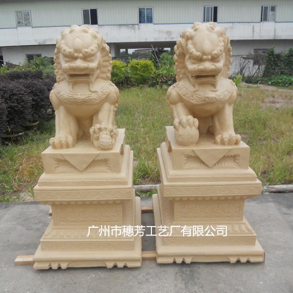 镇宅雄狮雕塑仿砂岩动物雕塑