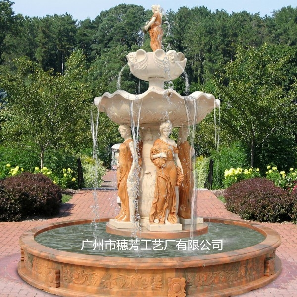 大型欧式人物雕塑工艺玻璃钢喷泉