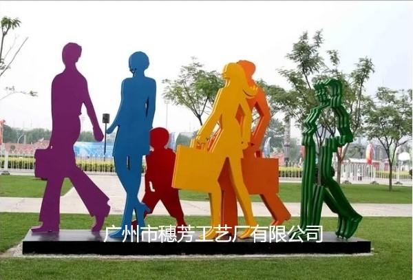 不锈钢剪影人物雕塑城市商业街步行切面人不锈钢人物摆件