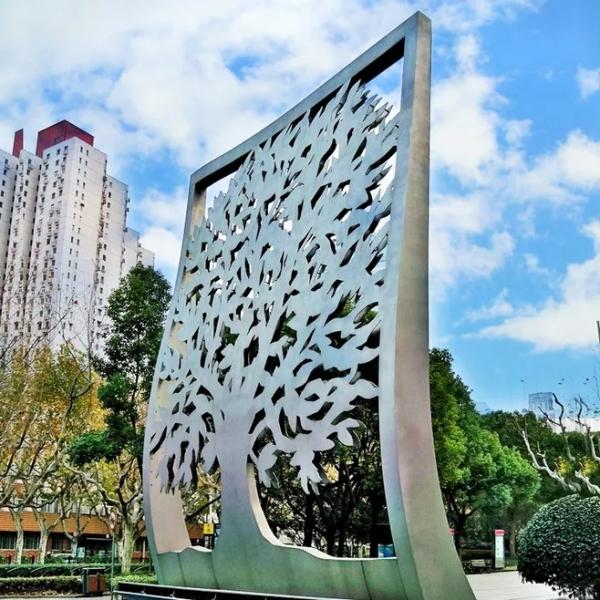 大型不锈钢剪纸雕塑广场景观双层树形剪纸不锈钢雕塑