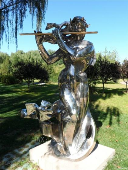 少女吹笛子不锈钢人物雕塑公园艺术品摆件