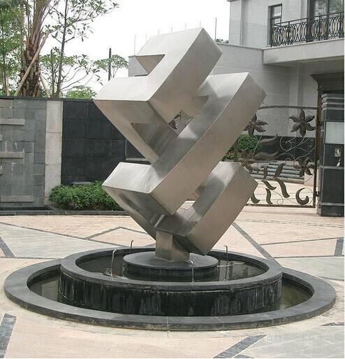艺术抽象不锈钢雕塑水景艺术装饰摆件