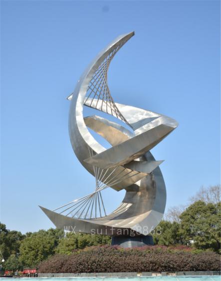 城市地标标志雕塑大型帆船一帆风顺不锈钢景观雕塑不锈钢厂家定制