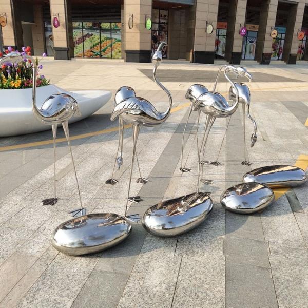 不锈钢仙鹤火烈鸟雕塑水景喷泉水池广场动物摆件