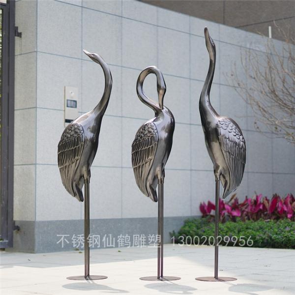 不锈钢抽象仙鹤天鹅雕塑酒店售楼部处园林景观水池摆件